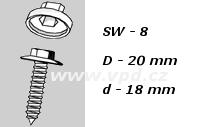 Krytka na šrouby a matice SW 8